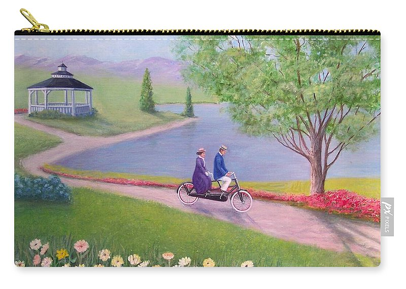 Landscape Carry-all Pouch featuring the painting A Ride In The Park by William H RaVell III
