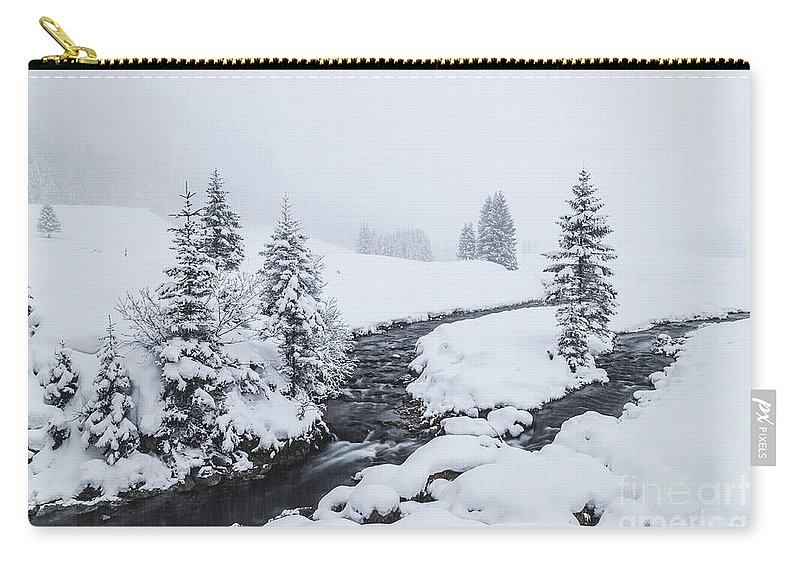Horizontal Carry-all Pouch featuring the photograph A River And Winter Landscape In Austria by Travel and Destinations - By Mike Clegg