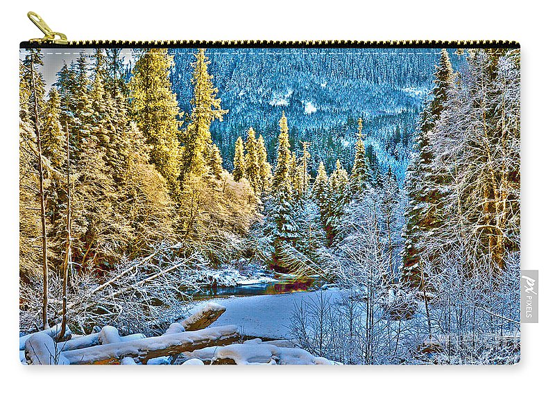 Clay Carry-all Pouch featuring the photograph A River Runs Down It by Clayton Bruster