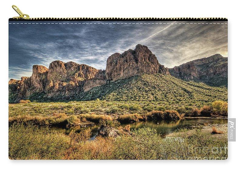 Arizona Carry-all Pouch featuring the photograph A River Runs Through by Saija Lehtonen