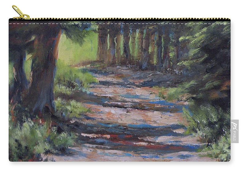 Landscape Carry-all Pouch featuring the painting A Road Less Travelled by Mia DeLode