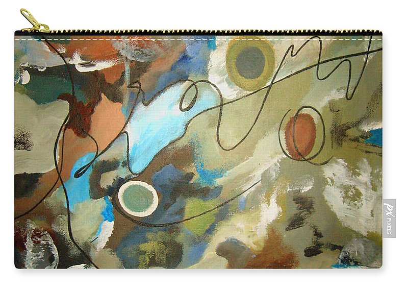 Abstract Carry-all Pouch featuring the painting A Rolling Stone Gathers No Moss by Ruth Palmer