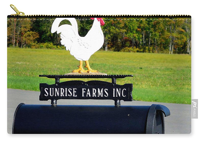 Rooster Mailbox Carry-all Pouch featuring the painting A Rooster Above A Mailbox 4 by Jeelan Clark