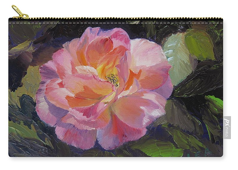 Rose Carry-all Pouch featuring the painting A Rose For Aunt Rosie by Lea Novak