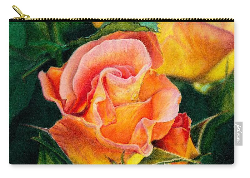 Coloured Pencil Carry-all Pouch featuring the painting A Rose For Nan by Amanda Jensen