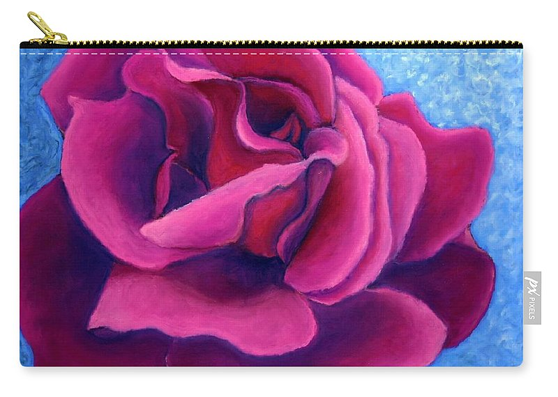 Rose. Pink Rose Carry-all Pouch featuring the painting A Rose is a Rose.. by Minaz Jantz