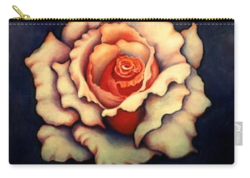 Flower Carry-all Pouch featuring the painting A Rose by Jordana Sands