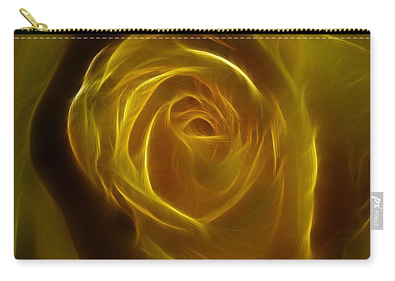 Yellow Carry-all Pouch featuring the photograph A Rose Of Yellow by Deborah Benoit