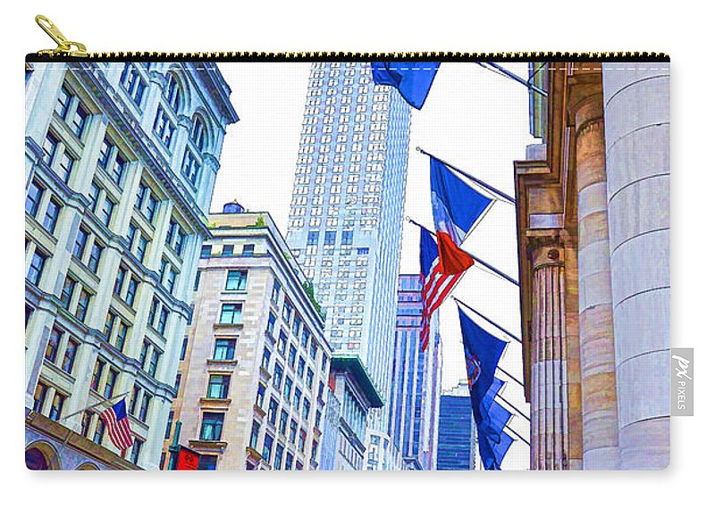 A Row Of Flags In The City Of New York Carry-all Pouch featuring the painting A Row Of Flags In The City Of New York 2 by Jeelan Clark