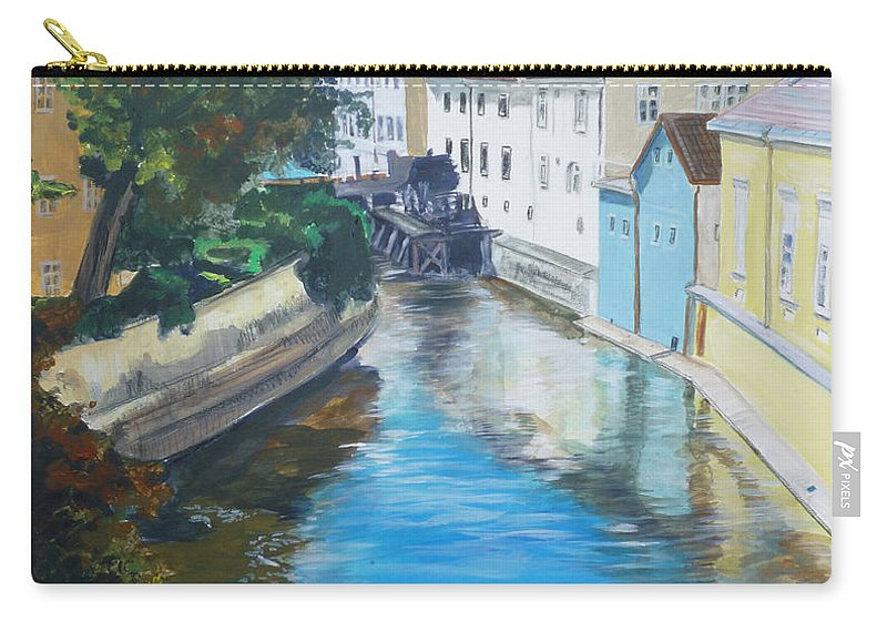 Prague Carry-all Pouch featuring the painting A Scene In Prague 2 by Bryan Bustard