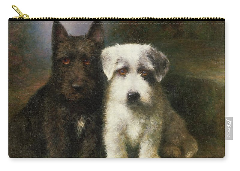 Dogs Carry-all Pouch featuring the painting A Scottish And A Sealyham Terrier by Lilian Cheviot