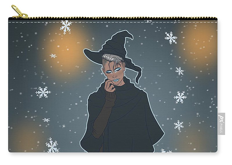 Sea Witch Carry-all Pouch featuring the digital art A Sea Witch's Blessed Yule by Enaykin Art