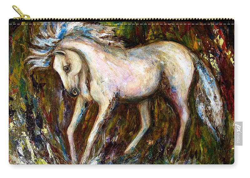 Horse Painting Carry-all Pouch featuring the painting A Secret Place White Hores Painting by Frances Gillotti