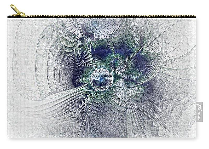Spiritual Carry-all Pouch featuring the digital art A Secret Sky - Fractal Art by NirvanaBlues