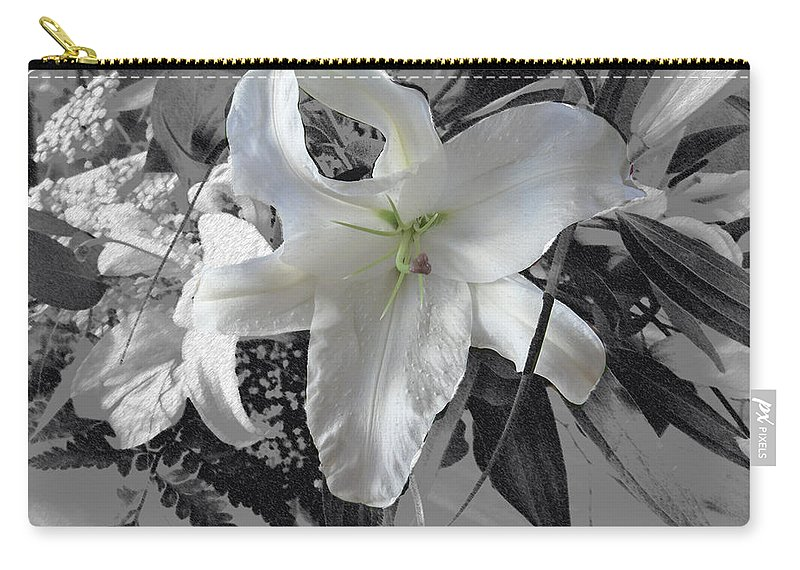 Lily Flowers Plants Nature Natural Flower Lilies Black And White  Carry-all Pouch featuring the photograph A Sense Of Purity by Andrea Lawrence