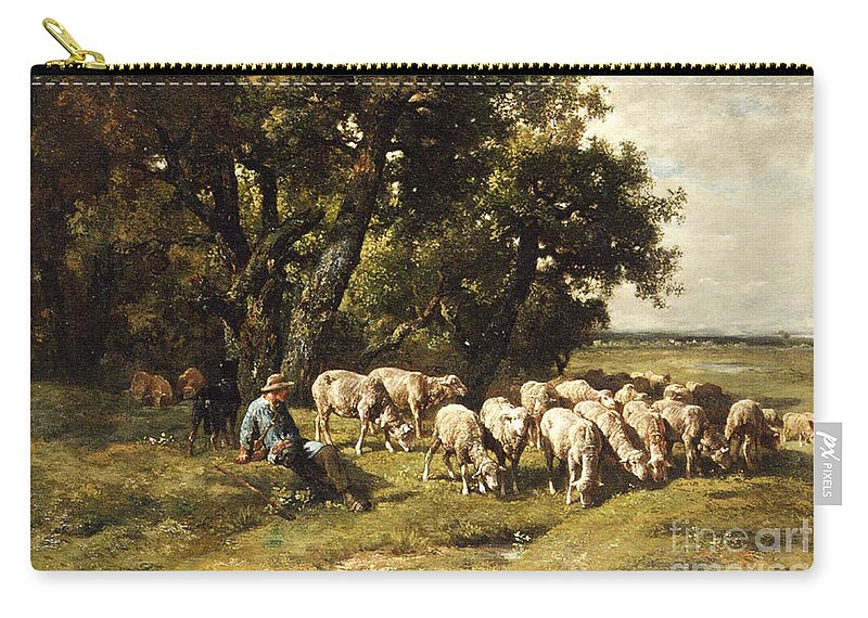 A Shepherd And His Flock Carry-all Pouch featuring the painting A Shepherd And His Flock by Charles Emile Jacques