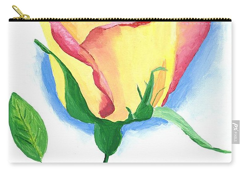 Rose Carry-all Pouch featuring the painting A Single Rose by Rodney Campbell