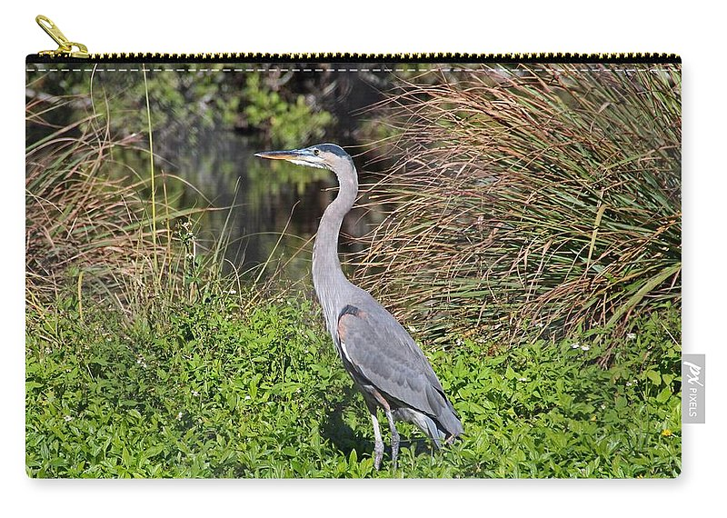Heron Carry-all Pouch featuring the photograph A Small Gamble by Michiale Schneider