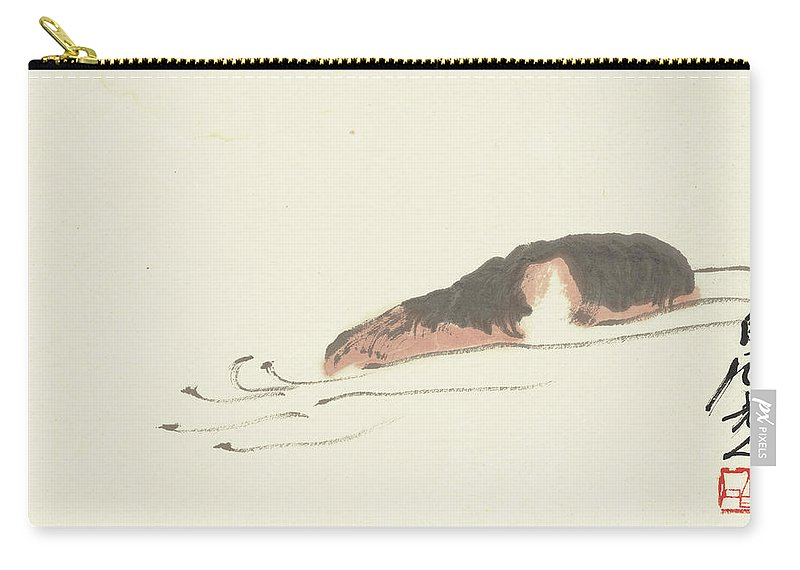 The River Front Carry-all Pouch featuring the painting A Small River by Qi Baishi