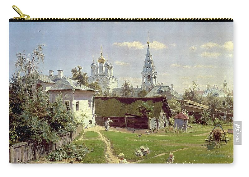 Small Carry-all Pouch featuring the painting A Small Yard In Moscow by Vasilij Dmitrievich Polenov