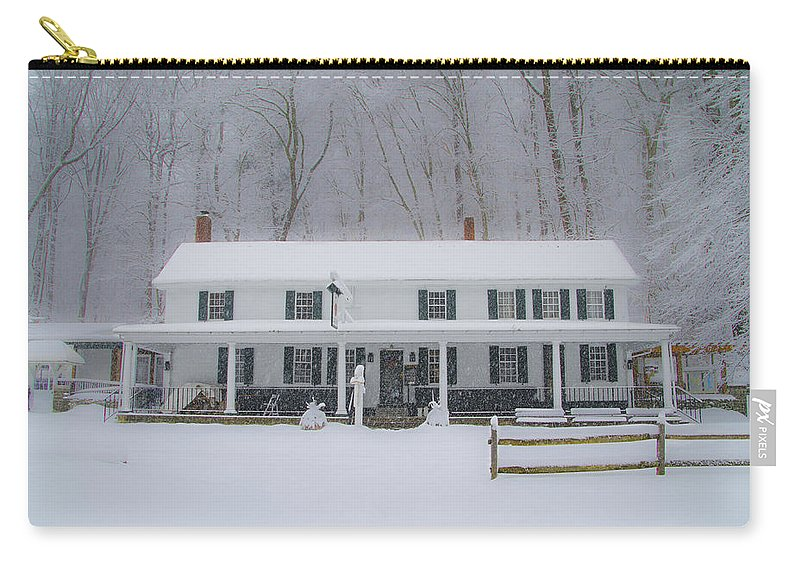 Snowstorm Carry-all Pouch featuring the photograph A Snowstorm At Valley Green Inn by Bill Cannon