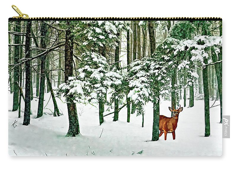 Deer Carry-all Pouch featuring the photograph A Snowy Day by Steve Harrington