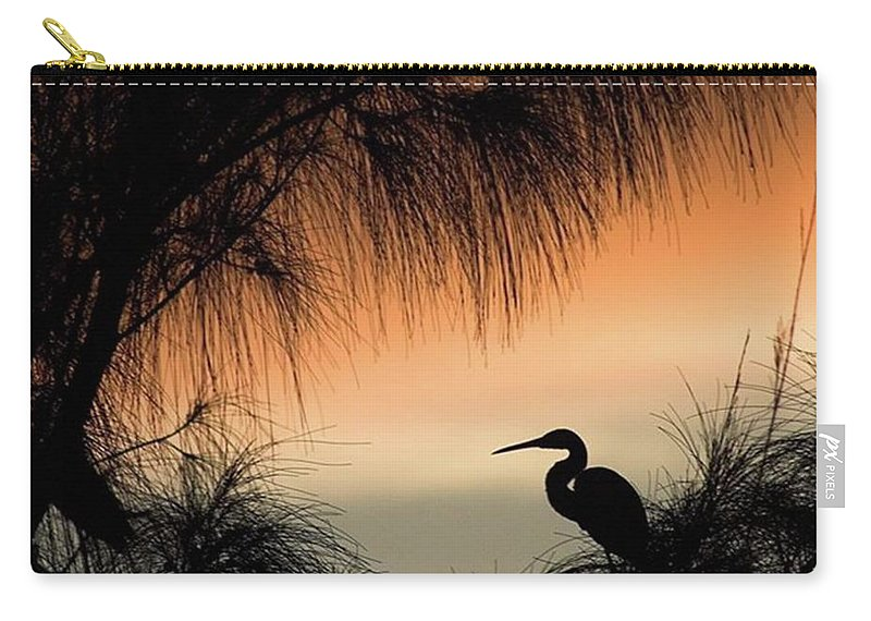 Egret Carry-all Pouch featuring the photograph A Snowy Egret (egretta Thula) Settling by John Edwards