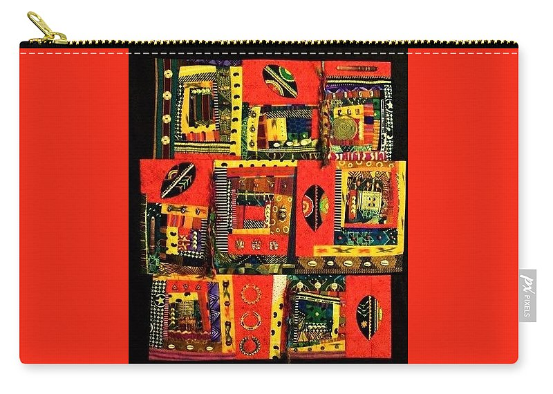 Textile Carry-all Pouch featuring the mixed media A Song For The Maasai by Charlotte Nunn