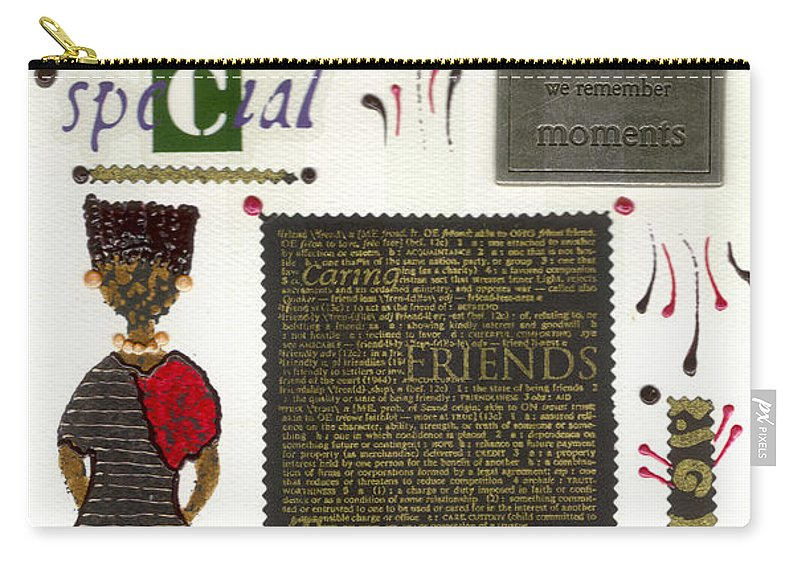 Gretting Cards Carry-all Pouch featuring the mixed media A Special Friend by Angela L Walker