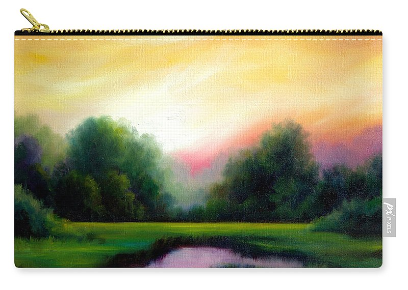 Clouds Carry-all Pouch featuring the painting A Spring Evening by James Christopher Hill