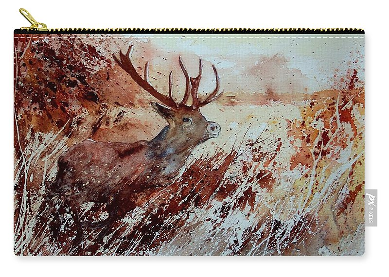 Animal Carry-all Pouch featuring the painting A Stag by Pol Ledent