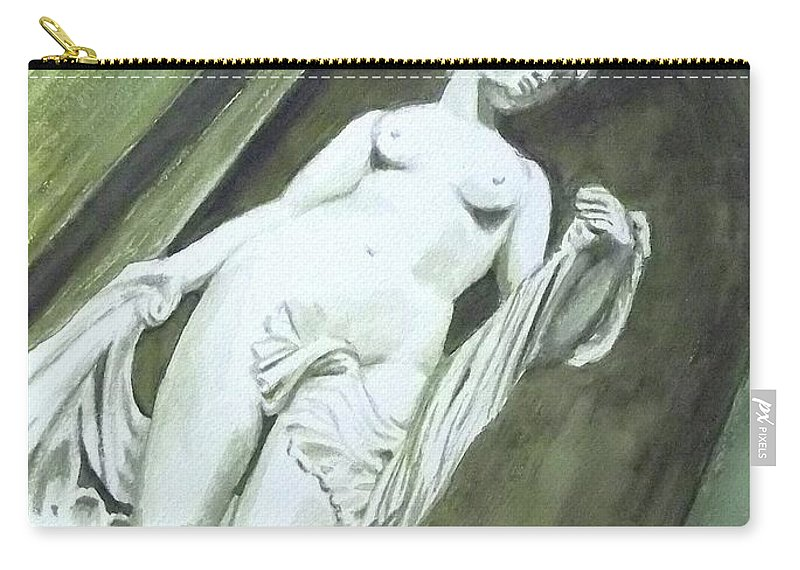 Statue Carry-all Pouch featuring the painting A Statue At The Toledo Art Museum - Ohio by Yoshiko Mishina