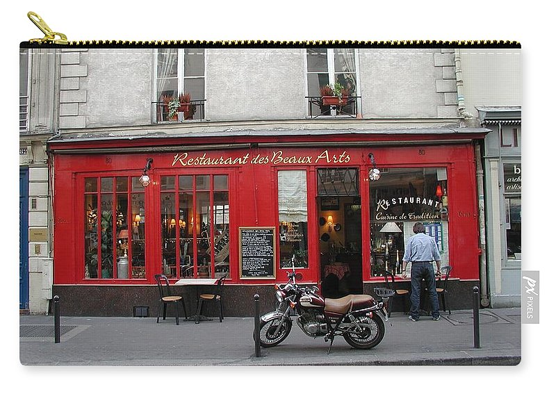 Red Carry-all Pouch featuring the photograph A Stop Along The Journey by Tom Reynen