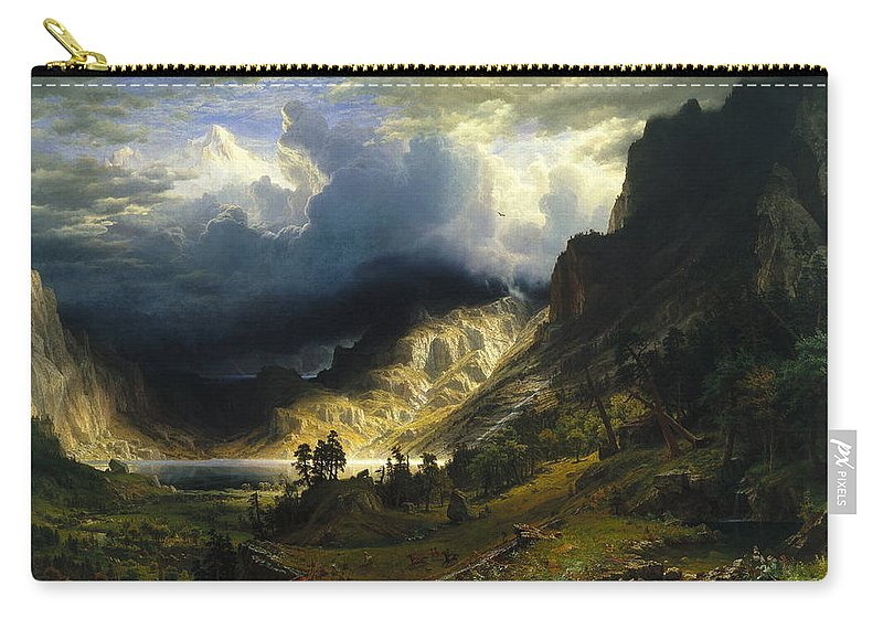 Bierstadt Carry-all Pouch featuring the painting A Storm In The Rocky Mountains Mt. Rosalie, 1866 by Albert Bierstadt