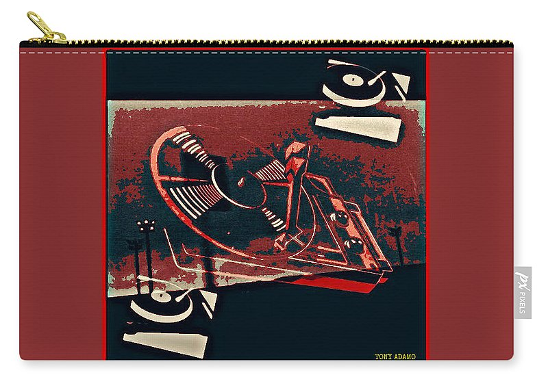A Storm Of Turntables Carry-all Pouch featuring the digital art A Storm Of Turntables by Tony Adamo