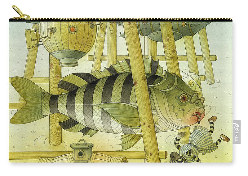 Striped Zebra Animals Fish Submarine Underwater Water Sea Sand Illustration Children Book Carry-all Pouch featuring the painting A Striped Story07 by Kestutis Kasparavicius