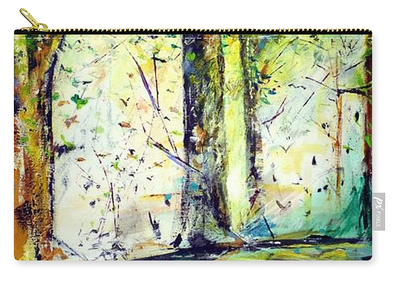 Trees Carry-all Pouch featuring the painting A Stroll On East 93rd by Jack Diamond