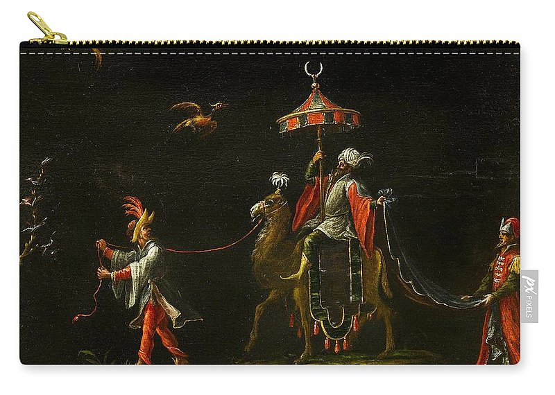 Follower Of Jacques Callot (nancy 1592 - Nancy 1635) Carry-all Pouch featuring the painting A Sultan Riding A Camel Led By A Driver by Jacques Callot