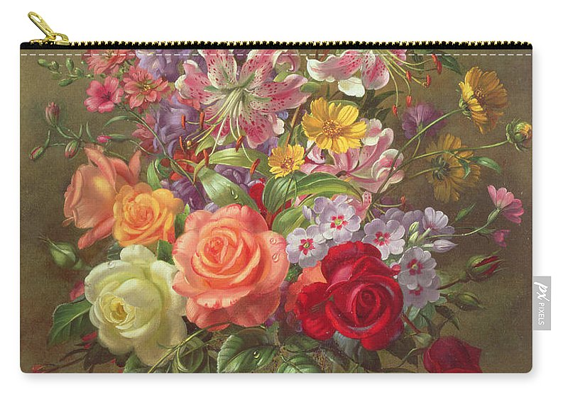 Still Life Carry-all Pouch featuring the painting A Summer Floral Arrangement by Albert Williams