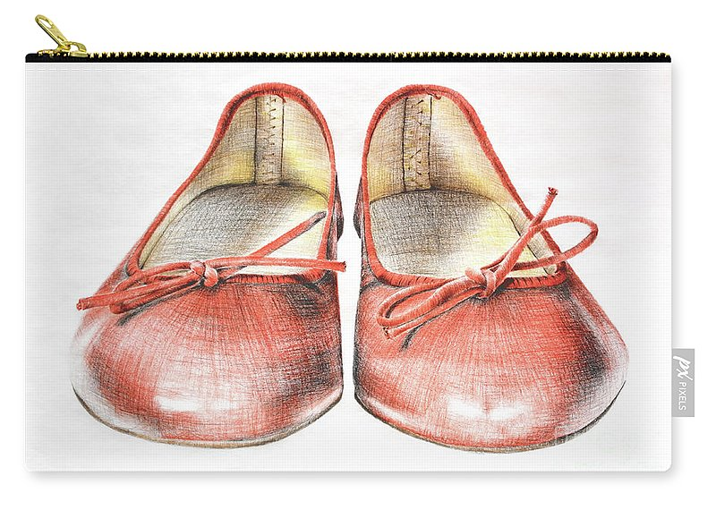 Shoes Carry-all Pouch featuring the drawing A Sunday Walk by Katharina Filus