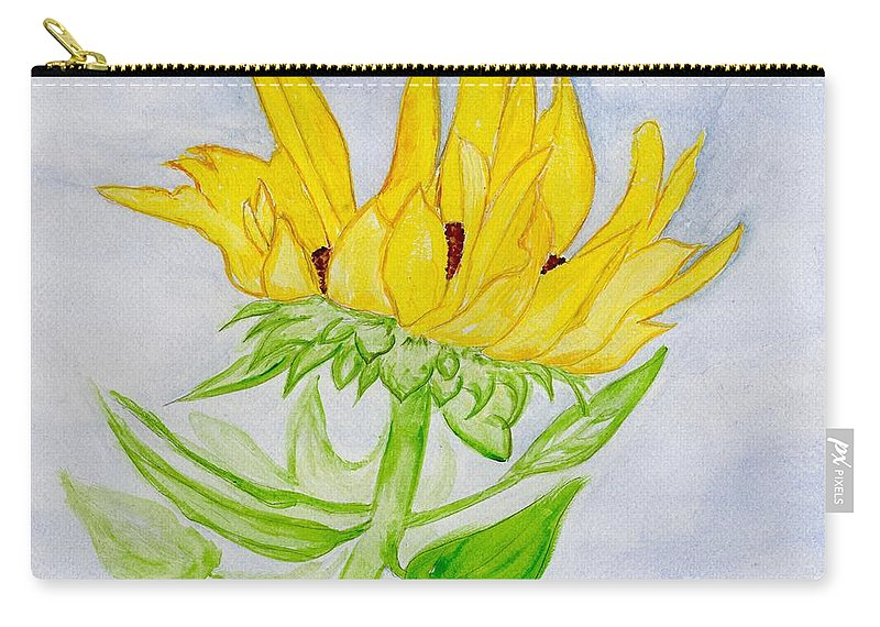 Sunflower Carry-all Pouch featuring the painting A Sunflower Blessing by Anne Gitto