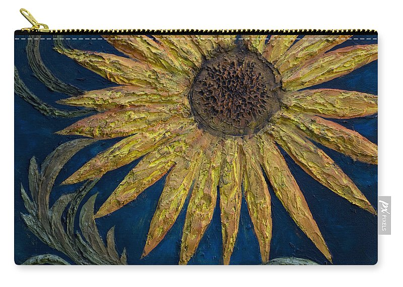 Sunflower Carry-all Pouch featuring the painting A Sunflower by Kelly Jade King