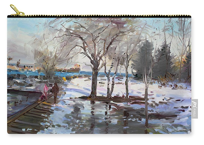 Landscape Carry-all Pouch featuring the painting A Sunny Freezing Day by Ylli Haruni