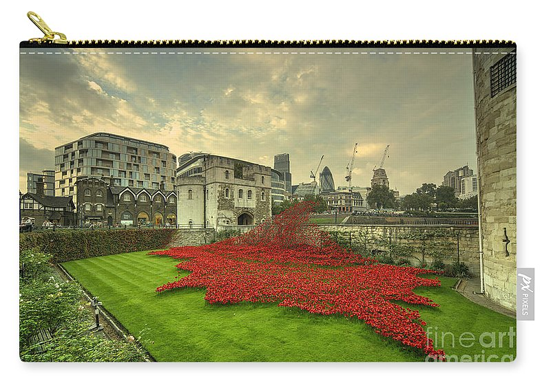 Blood Carry-all Pouch featuring the photograph A Sweep Of Poppies by Rob Hawkins