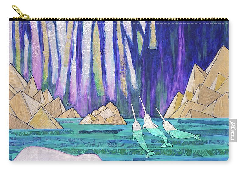 Aurora Borealis Carry-all Pouch featuring the painting A Tale Of Light And Ice by Ande Hall