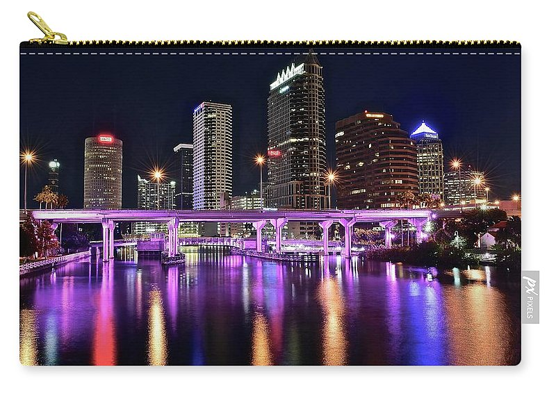 Tampa Carry-all Pouch featuring the photograph A Tampa Night by Frozen in Time Fine Art Photography