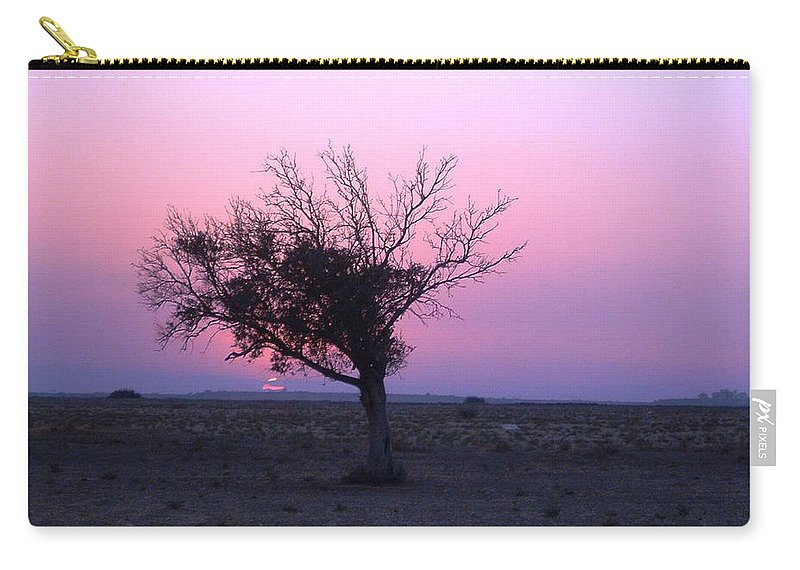 Lone Tree Sunset Purple Sky Desert Isolated Lonely Baron Land Carry-all Pouch featuring the photograph A Touch Of Alone by Andrea Lawrence