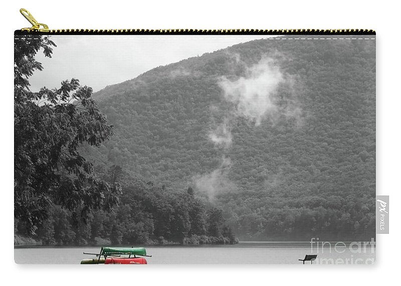 Canoes Carry-all Pouch featuring the photograph A Touch Of Color By The Lake by Judy Carr