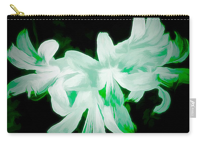 Digital-art Carry-all Pouch featuring the mixed media A Touch Of Green On The Lilies by Debra Lynch