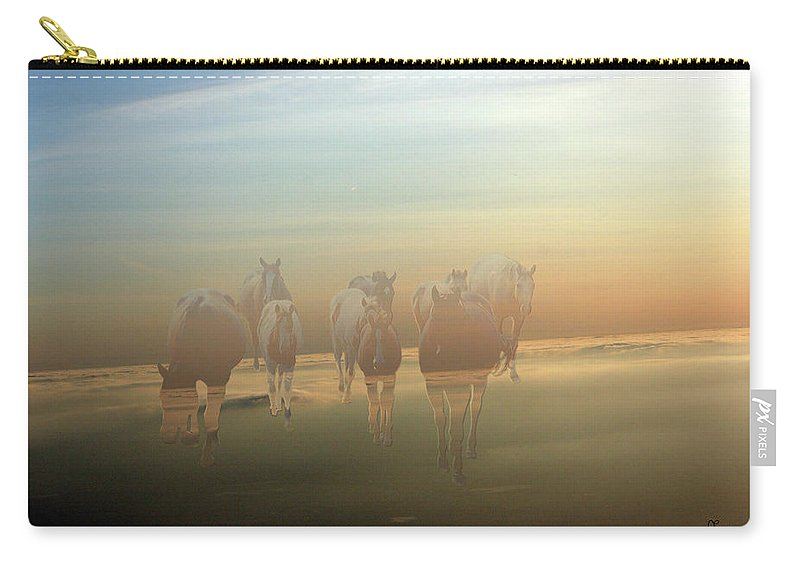 Horses Paint Herd Animals Ranch Farm Colts Quarter Horse Clouds Sky Carry-all Pouch featuring the photograph A Touch Of Horse Heaven by Andrea Lawrence
